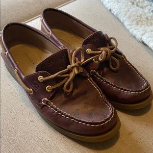 Sperry Red Brown Leather Nautical Anchor Boat Shoe